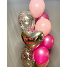Букет из гелевых шаров маме на День Рождения с золотым сердцем