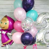Сет разноцветных шариков Маша на День Рождения с цифрой