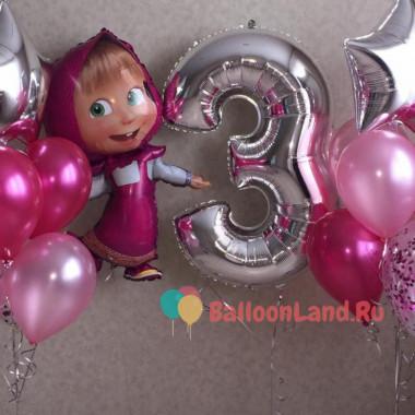 Сет шаров Маша с цифрой в розовой гамме