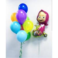 Набор шаров Маша на велосипеде с разноцветными шарами