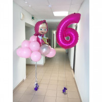 Букет шаров в нежно розовом цвете с Машей из м/ф Маша и Медведь с цифрой