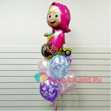 Букет воздушных шариков с Машей на велосипеде