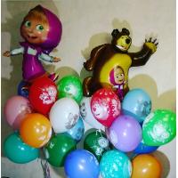 Композиция из шаров Маша и Медведь из двух букетов