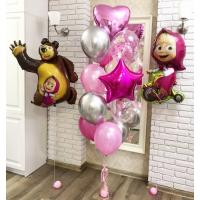 Композиция из шариков с героями м/ф Маша и Медведь с сердцем ,звездой и шарами с конфетти