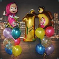 Композиция из шариков на один годик с персонажами м/ф Маша и Медведь с цифрой с индивидуальной надписью