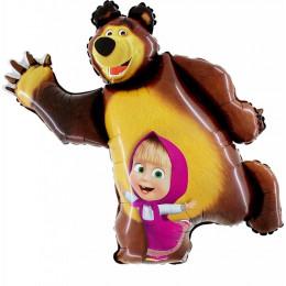 Фигурный шар Маша и Медведь танцуют
