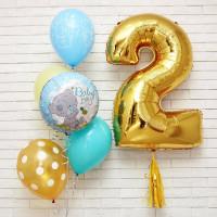 Композиция из шаров с гелием мальчику с Мишкой Тедди и цифрой на День Рождения