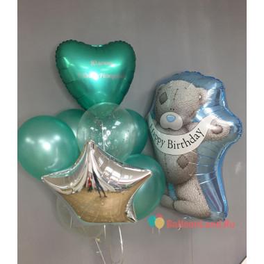 Букет из воздушных шариков с Мишкой Тедди со звездой и сердцем