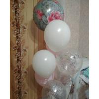 Букет шаров Мишка Тедди с розами и шарами с конфетти