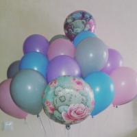 Букет гелиевых шариков на День Рождения с медвежонком Тедди