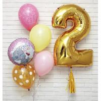 Композиция из шаров девочке с Мишкой Тедди и цифрой на День Рождения
