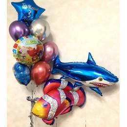 Композиция из шаров Ми-ми-мишки с рыбками на День Рождения
