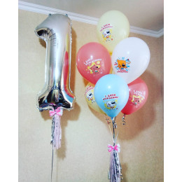 Сет из гелевых шаров Ми-ми-мишки на первый День Рождения