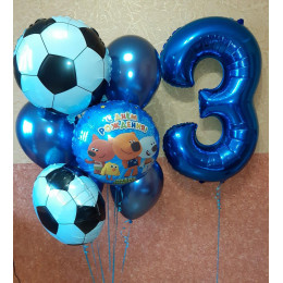 Композиция из шариков Ми-ми-мишки на три года для футболиста