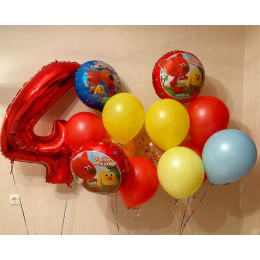 Композиция из воздушных шаров Ми-ми-мишки с красной цифрой на День Рождения