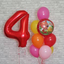 Композиция из шаров с гелием Ми-ми-мишки на четыре года малышу