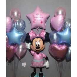 Композиция из шариков с ходячей фигурой Минни Маус с большой звездой доченьке