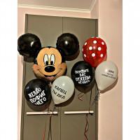 Композиция из гелевых шаров с Микки Маусом и шарами с приколами для взрослого