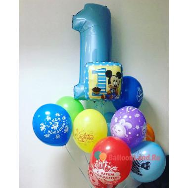 Букет воздушных шариков на первый День Рождения с Микки Маусом для мальчика