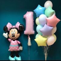 Композиция из гелевых шаров пастельных оттенков с фигурой Минни Маус на годовасие