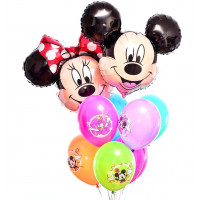 Букет из гелевых шариков с героями мультиков Дисней с Микки и Минни