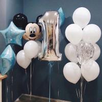 Композиция из шаров Микки Маус со звездами на годовасие мальчику