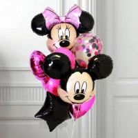 Букет гелиевых шариков Микки и Минни с черной звездой и розовыми сердцами