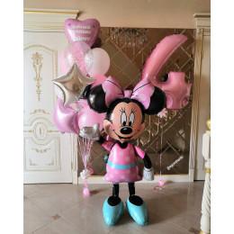 Композиция из шаров с гелием доченьке на четыре годика с фигурой Минни Маус