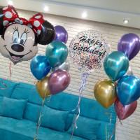 Композиция из воздушных шаров хром с Минни и большим шаром с конфетти