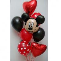 Букет шаров Микки Маус с красными сердцами
