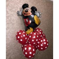 Букет воздушных шариков с Микки и шариками в горошек