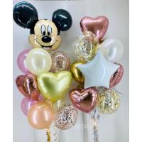 Композиция из шаров с рожицей Микки Мауса со звездами и сердцами