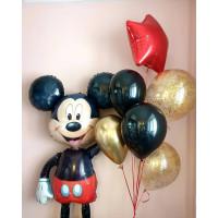 Композиция из воздушных шаров с ходячей фигурой Микки Мауса
