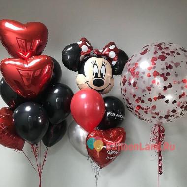 Композиция из воздушных шариков с Минни и большим шаром с конфетти и сердцами