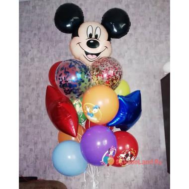 Букет из шаров с Микки Маусом, звездами и шарами с другими персонажами Дисней