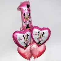Букет шариков на один годик с сердцами Минни Маус