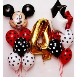 Набор шариков на День Рождения с Микки Маусом и цифрой