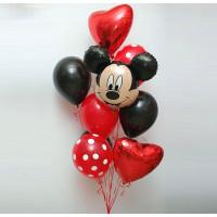 Букет шаров с гелием Микки Маус в красно-чёрной гамме