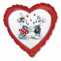Шар-сердце Нарисованные Микки и Минни Маус
