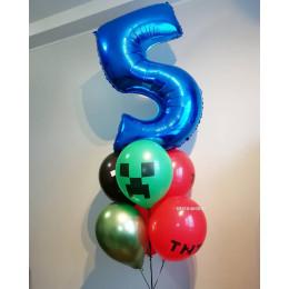 Букет гелиевых шариков Майнкрафт с цифрой