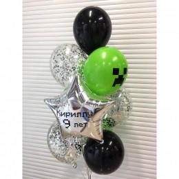 Букет шариков с гелием с символом Майнкрафт и именной звездой