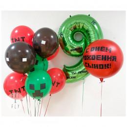 Композиция из воздушных шариков Майнкрафт на девять лет с вашими поздравлениями