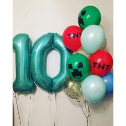 Композиция из шариков с гелием на десять лет Майнкрафт