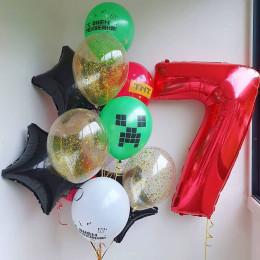 Сет из шариков на семь лет Майнкрафт со звездами