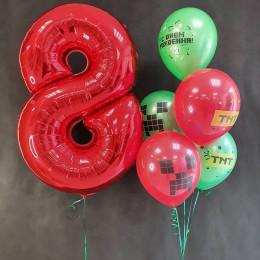 Композиция из воздушных шаров Майнкрафт с цифрой на День Рождения