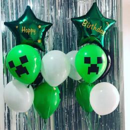 Сет из шаров Майнкрафт со звездами с вашими поздравлениям на День Рождения