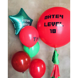 Композиция из воздушных шаров любителю компьютерной игры Майнкрафт