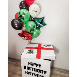 Букет гелиевых шариков в коробке-сюрприз Майнкрафт со звездами на День Рождения