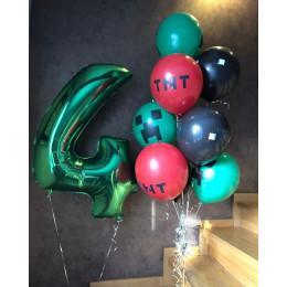 Композиция из гелевых шаров маленьком фанату Майнкрафт с цифрой