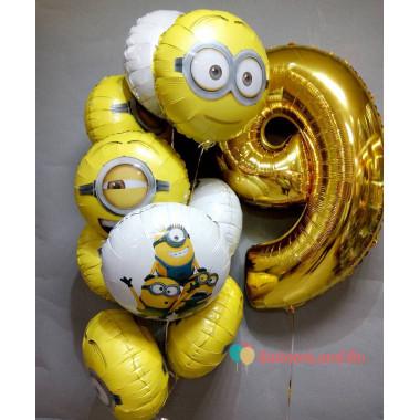 Набор воздушных шаров на День Рождения Миньоны с цифрой